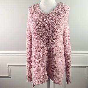 Cupio   pink popcorn chenille sweater large